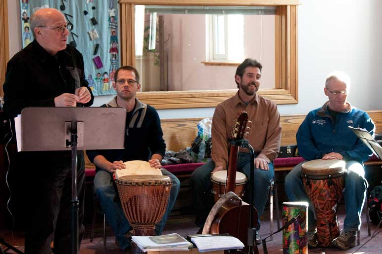 Andrew Donaldson with instrumentalists at a workshop event